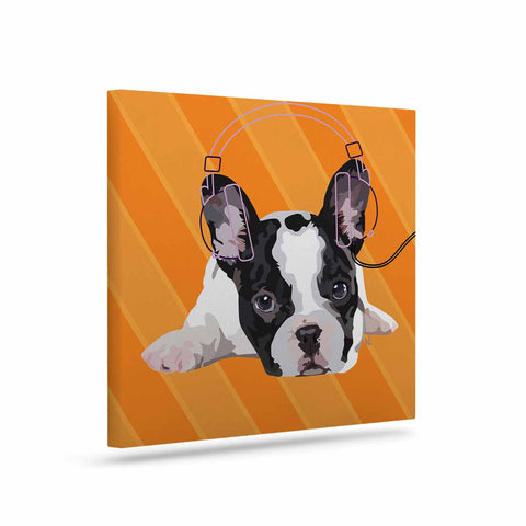 "NL Designs ""Rockin' Pup French Bulldog"" Orange White Animals Digital Illustration Art Canvas"