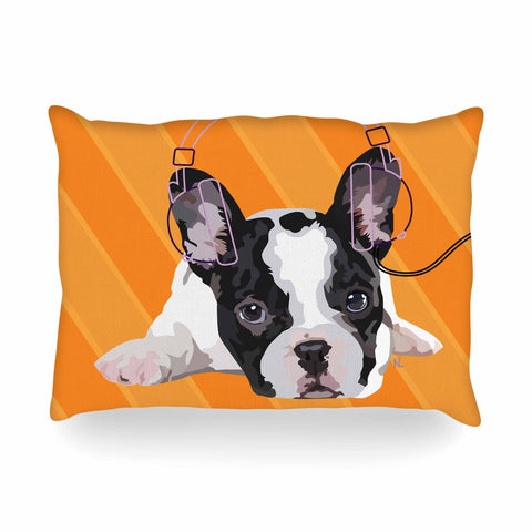 "NL Designs ""Rockin' Pup French Bulldog"" Orange White Animals Digital Illustration Oblong Pillow"