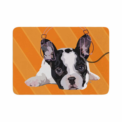 "NL Designs ""Rockin' Pup French Bulldog"" Orange White Animals Digital Illustration Memory Foam Bath Mat"