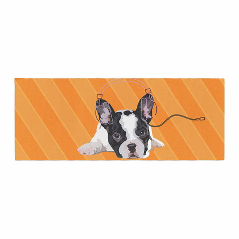 "NL Designs ""Rockin' Pup French Bulldog"" Orange White Animals Digital Illustration Bed Runner"