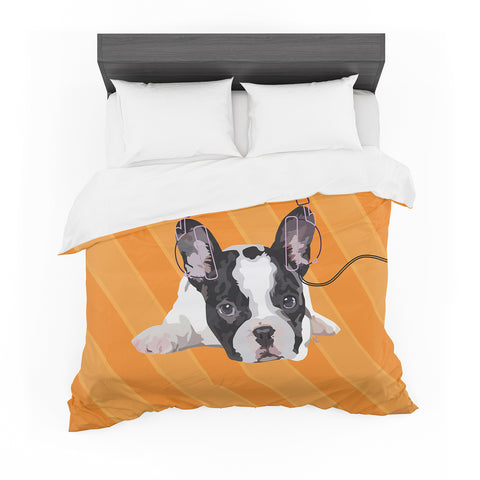 "NL Designs ""Rockin' Pup French Bulldog"" Orange White Animals Digital Illustration Featherweight Duvet Cover"