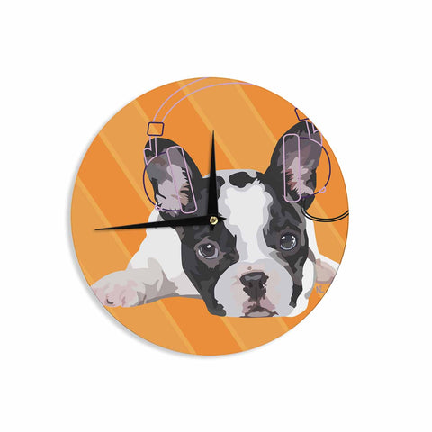 "NL Designs ""Rockin' Pup French Bulldog"" Orange White Animals Digital Illustration Wall Clock"