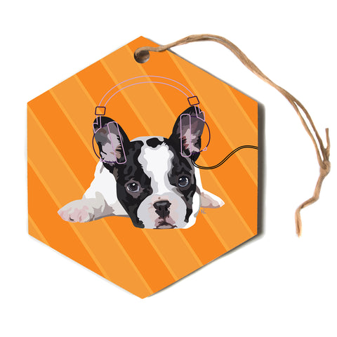 "NL Designs ""Rockin' Pup French Bulldog"" Orange White Animals Digital Illustration Hexagon Holiday Ornament"