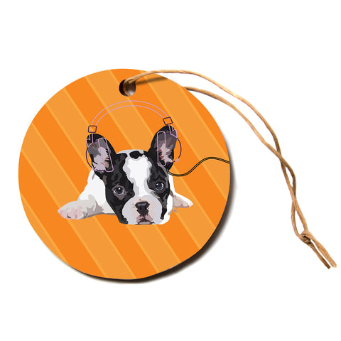"NL Designs ""Rockin' Pup French Bulldog"" Orange White Animals Digital Illustration Circle Holiday Ornament"