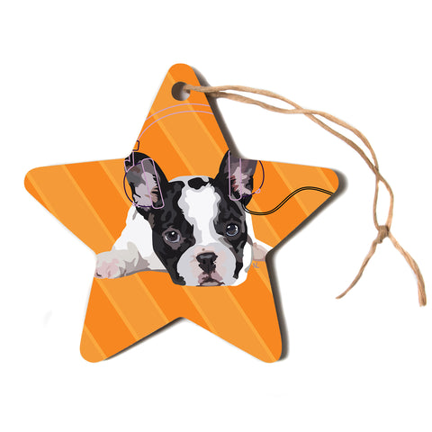 "NL Designs ""Rockin' Pup French Bulldog"" Orange White Animals Digital Illustration Star Holiday Ornament"