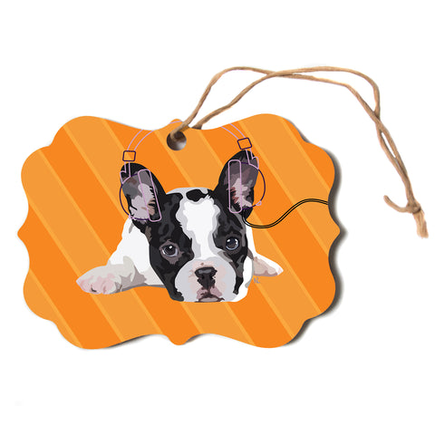 "NL Designs ""Rockin' Pup French Bulldog"" Orange White Animals Digital Illustration Scroll Holiday Ornament"