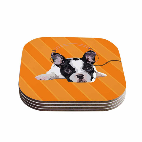 "NL Designs ""Rockin' Pup French Bulldog"" Orange White Animals Digital Illustration Coasters (Set of 4)"