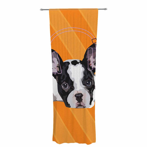"NL Designs ""Rockin' Pup French Bulldog"" Orange White Animals Digital Illustration Decorative Sheer Curtain"