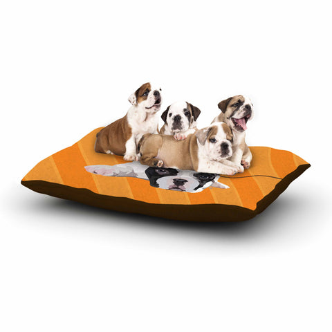 "NL Designs ""Rockin' Pup French Bulldog"" Orange White Animals Digital Illustration Dog Bed"