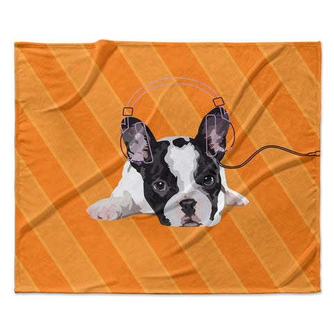 "NL Designs ""Rockin' Pup French Bulldog"" Orange White Animals Digital Illustration Fleece Throw Blanket"