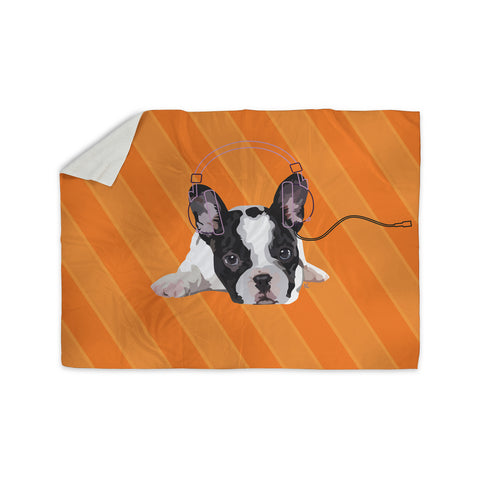 "NL Designs ""Rockin' Pup French Bulldog"" Orange White Animals Digital Illustration Sherpa Blanket"