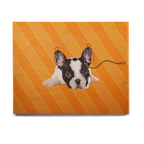 "NL Designs ""Rockin' Pup French Bulldog"" Orange White Animals Digital Illustration Birchwood Wall Art"