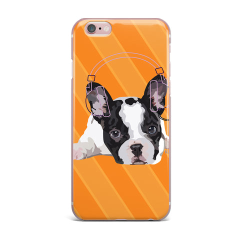 "NL Designs ""Rockin' Pup French Bulldog"" Orange White Animals Digital Illustration iPhone Case"