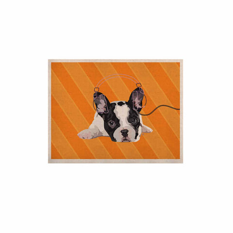 "NL Designs ""Rockin' Pup French Bulldog"" Orange White Animals Digital Illustration KESS Naturals Canvas (Frame not Included)"
