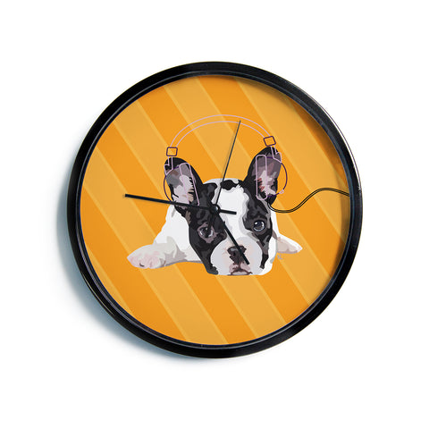 "NL Designs ""Rockin' Pup French Bulldog"" Orange White Animals Digital Illustration Modern Wall Clock"