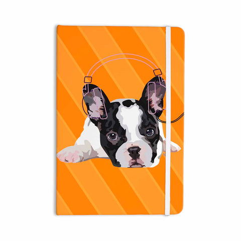 "NL Designs ""Rockin' Pup French Bulldog"" Orange White Animals Digital Illustration Everything Notebook"