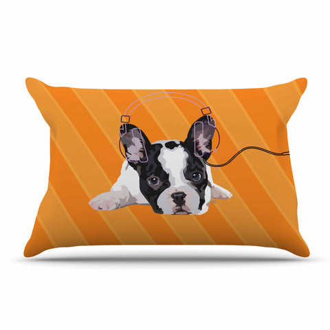 "NL Designs ""Rockin' Pup French Bulldog"" Orange White Animals Digital Illustration Pillow Sham"