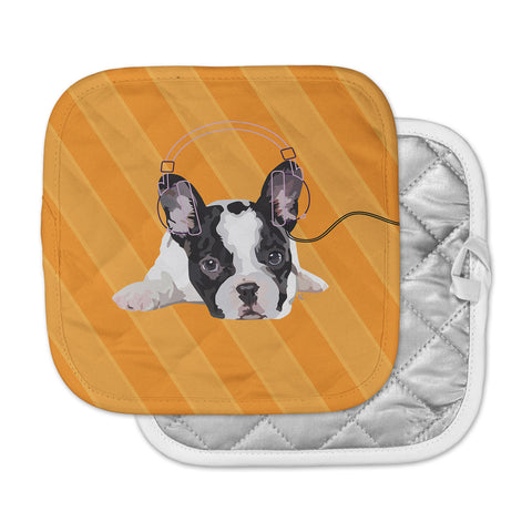 "NL Designs ""Rockin' Pup French Bulldog"" Orange White Animals Digital Illustration Pot Holder"