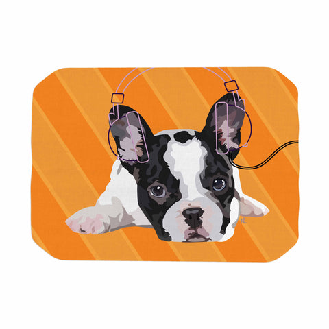 "NL Designs ""Rockin' Pup French Bulldog"" Orange White Animals Digital Illustration Place Mat"