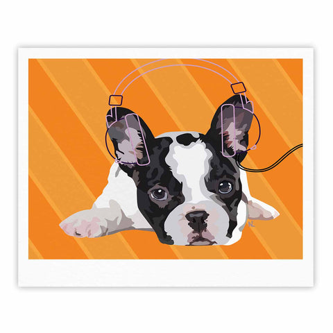 "NL Designs ""Rockin' Pup French Bulldog"" Orange White Animals Digital Illustration Fine Art Gallery Print"