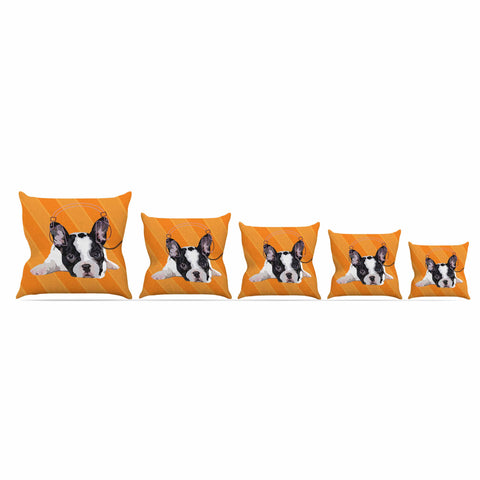 "NL Designs ""Rockin' Pup French Bulldog"" Orange White Animals Digital Illustration Outdoor Throw Pillow"