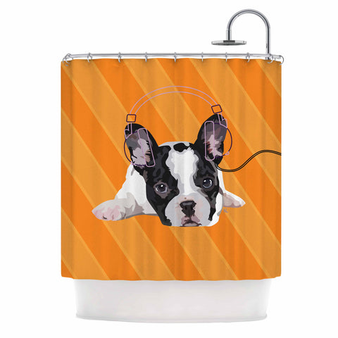 "NL Designs ""Rockin' Pup French Bulldog"" Orange White Animals Digital Illustration Shower Curtain"
