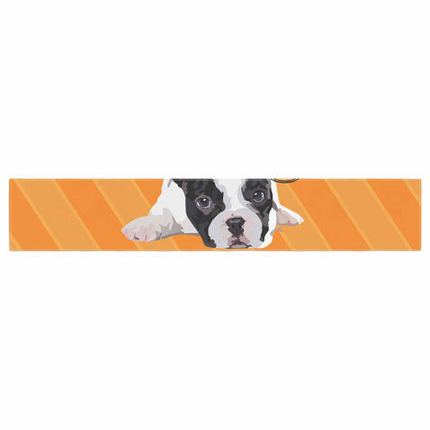 "NL Designs ""Rockin' Pup French Bulldog"" Orange White Animals Digital Illustration Table Runner"