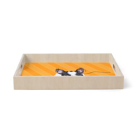 "NL Designs ""Rockin' Pup French Bulldog"" Orange White Animals Digital Illustration Birchwood Tray"