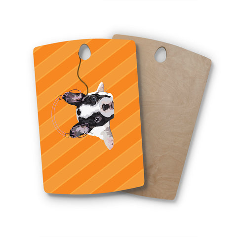 "NL Designs ""Rockin' Pup French Bulldog"" Orange White Animals Digital Illustration Rectangle Wooden Cutting Board"