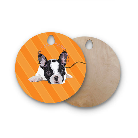 "NL Designs ""Rockin' Pup French Bulldog"" Orange White Animals Digital Illustration Round Wooden Cutting Board"