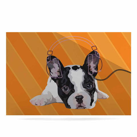 "NL Designs ""Rockin' Pup French Bulldog"" Orange White Animals Digital Illustration Luxe Rectangle Panel"