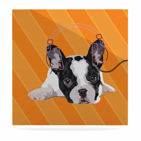 "NL Designs ""Rockin' Pup French Bulldog"" Orange White Animals Digital Illustration Luxe Square Panel"