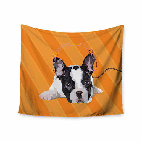 "NL Designs ""Rockin' Pup French Bulldog"" Orange White Animals Digital Illustration Wall Tapestry"