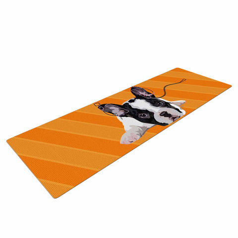 "NL Designs ""Rockin' Pup French Bulldog"" Orange White Animals Digital Illustration Yoga Mat"