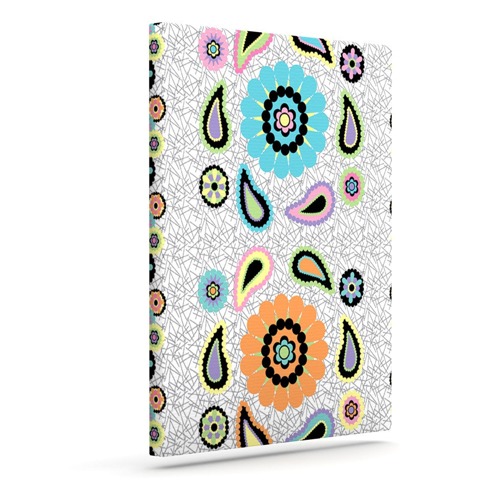 "Nina May ""Moda Paisley"" Paisley Flower Outdoor Canvas Wall Art - KESS InHouse  - 1"