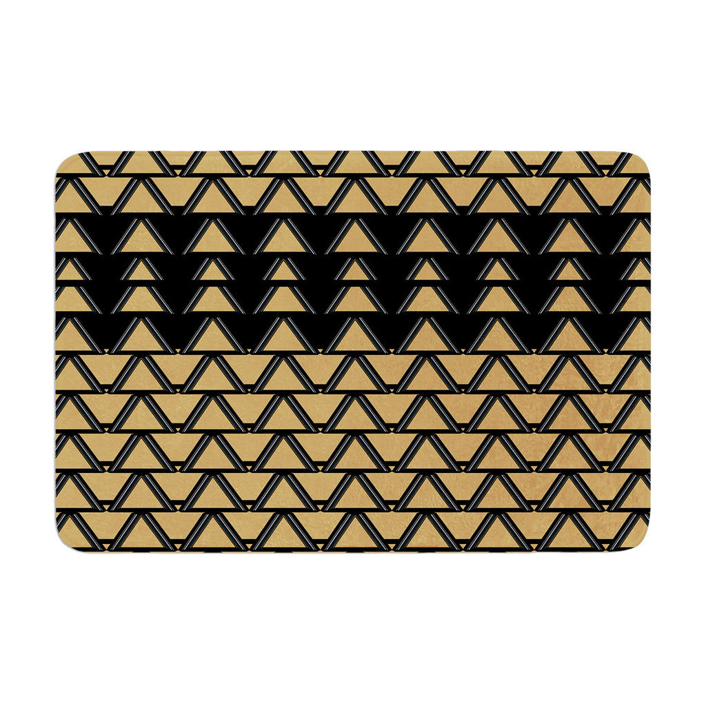 "Nina May ""Deco Angles Gold Black"" Memory Foam Bath Mat - KESS InHouse"