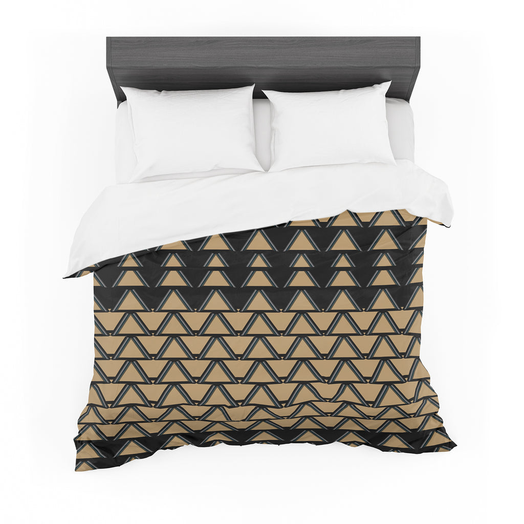 "Nina May ""Deco Angles Gold Black"" Cotton Duvet"