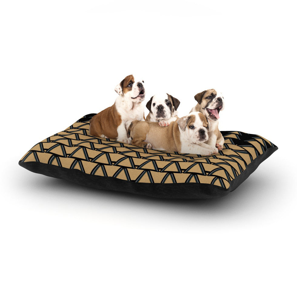 "Nina May ""Deco Angles Gold Black"" Dog Bed - KESS InHouse  - 1"