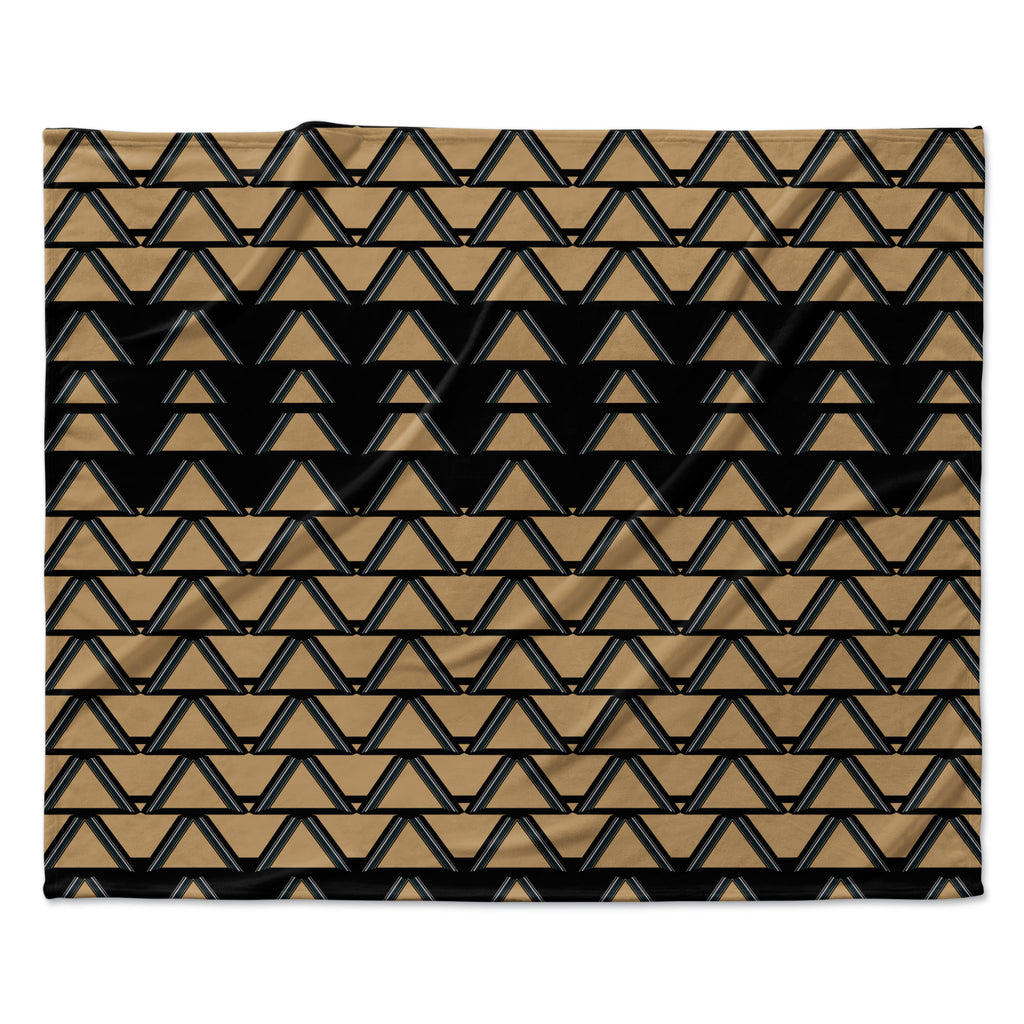 "Nina May ""Deco Angles Gold Black"" Fleece Throw Blanket"