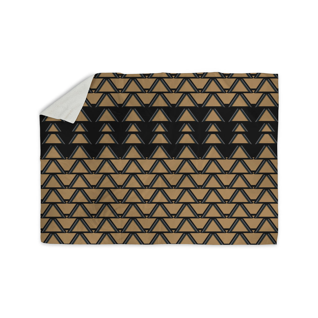 "Nina May ""Deco Angles Gold Black"" Sherpa Blanket - KESS InHouse  - 1"