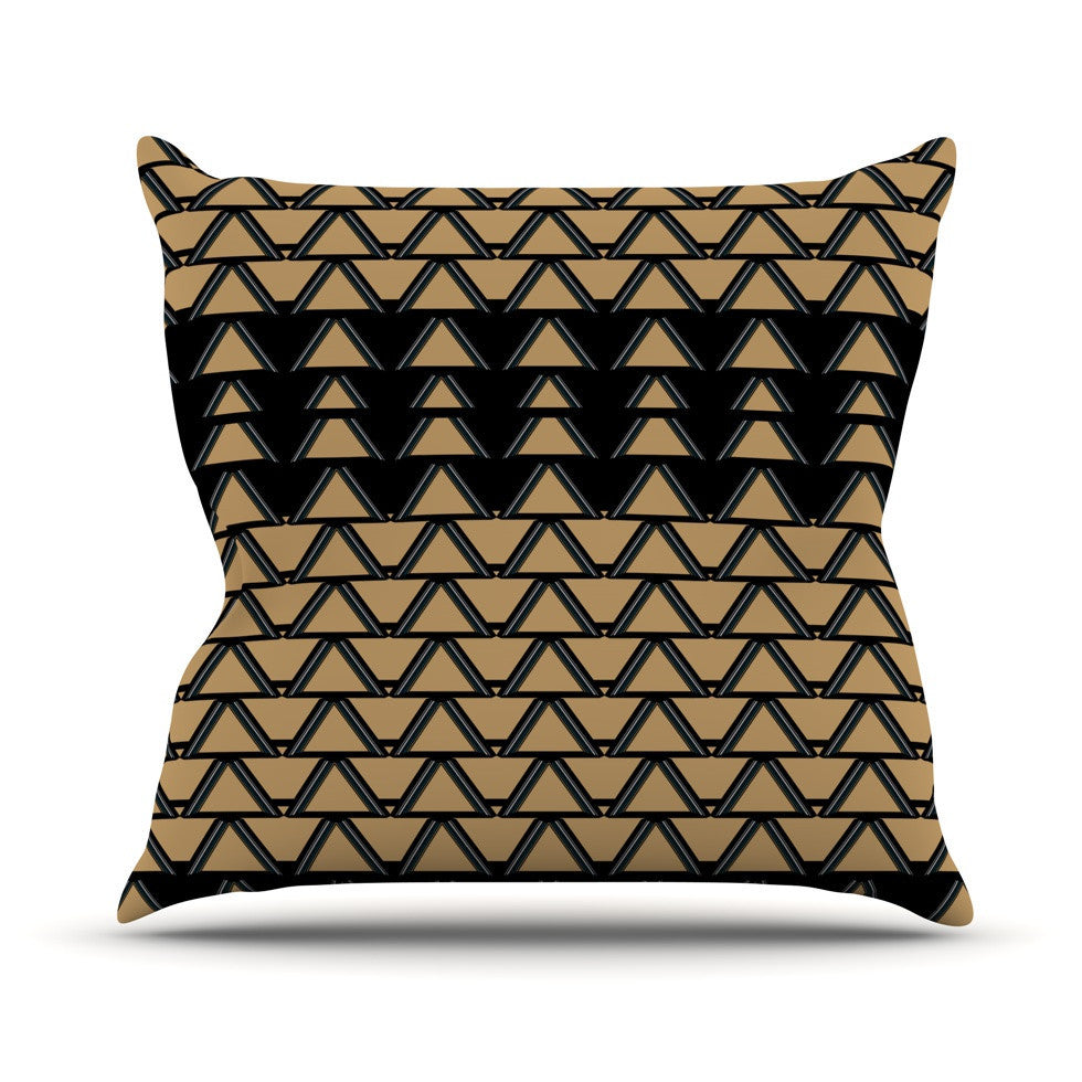 "Nina May ""Deco Angles Gold Black"" Outdoor Throw Pillow - KESS InHouse  - 1"