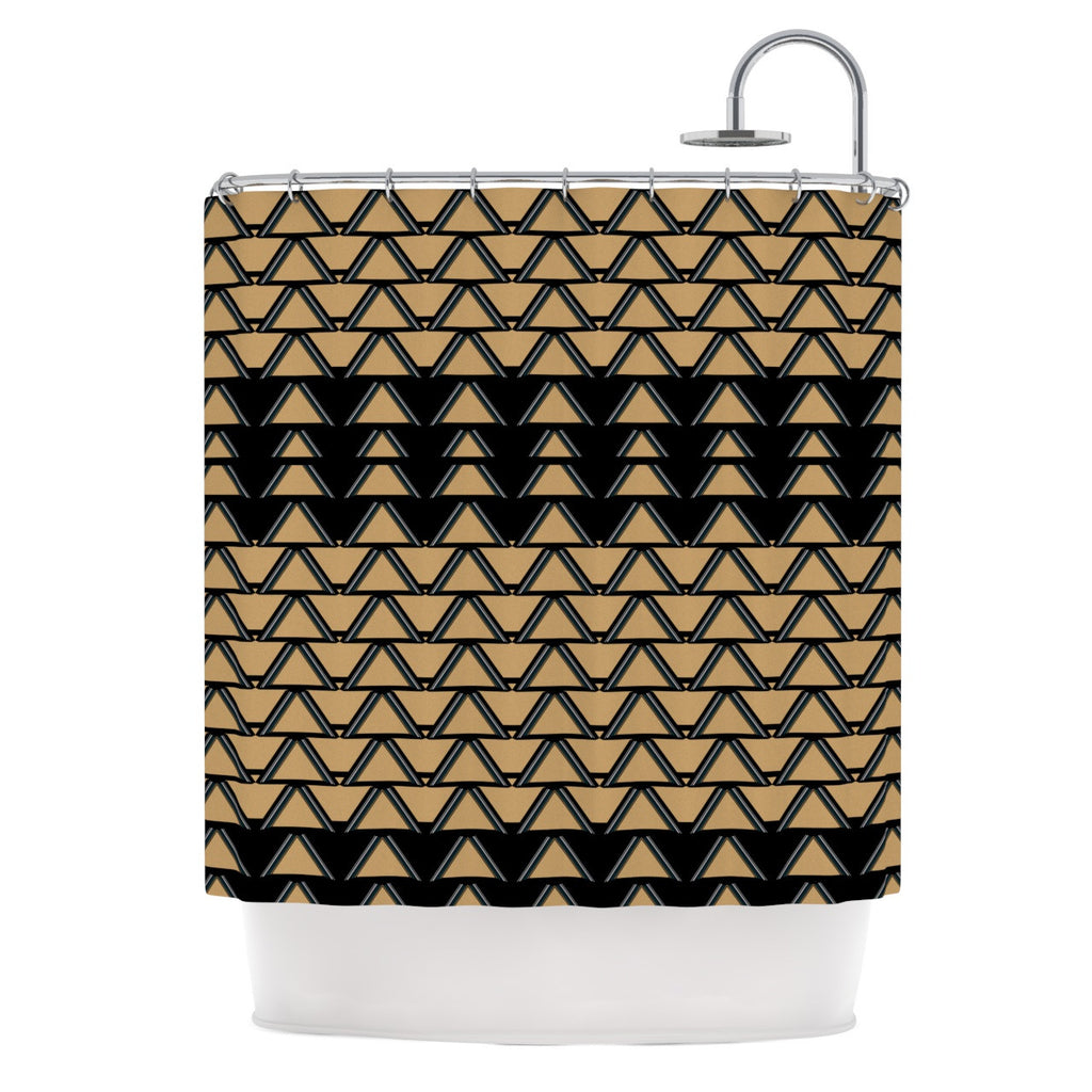 "Nina May ""Deco Angles Gold Black"" Shower Curtain - KESS InHouse"