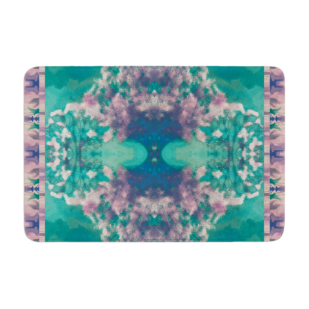 "Nina May ""Ashby Blossom Teal"" Memory Foam Bath Mat - KESS InHouse"