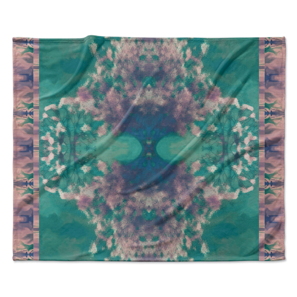 "Nina May ""Ashby Blossom Teal"" Fleece Throw Blanket"