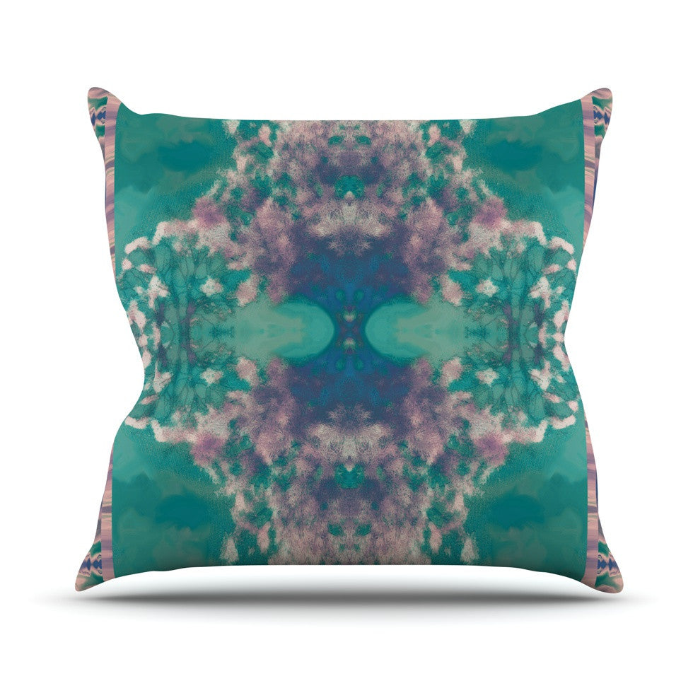 "Nina May ""Ashby Blossom Teal"" Outdoor Throw Pillow - KESS InHouse  - 1"
