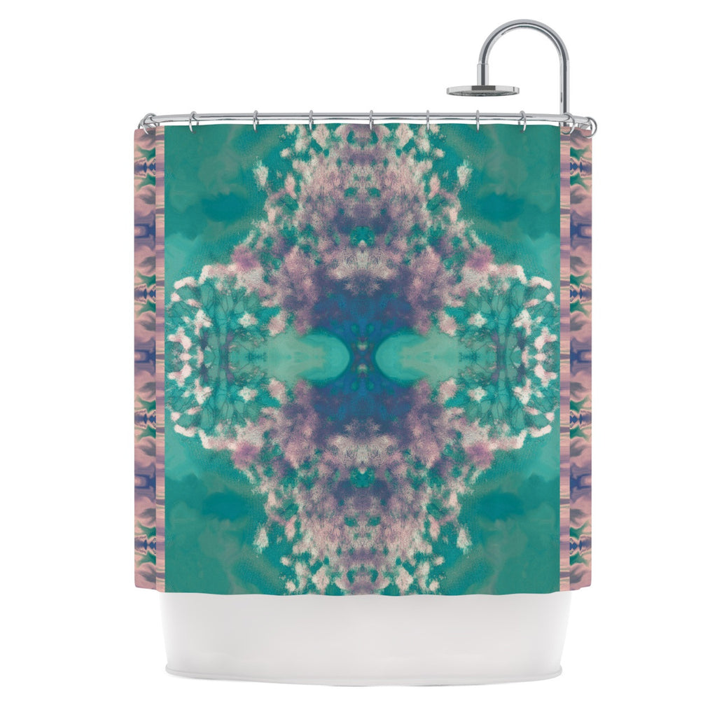"Nina May ""Ashby Blossom Teal"" Shower Curtain - KESS InHouse"