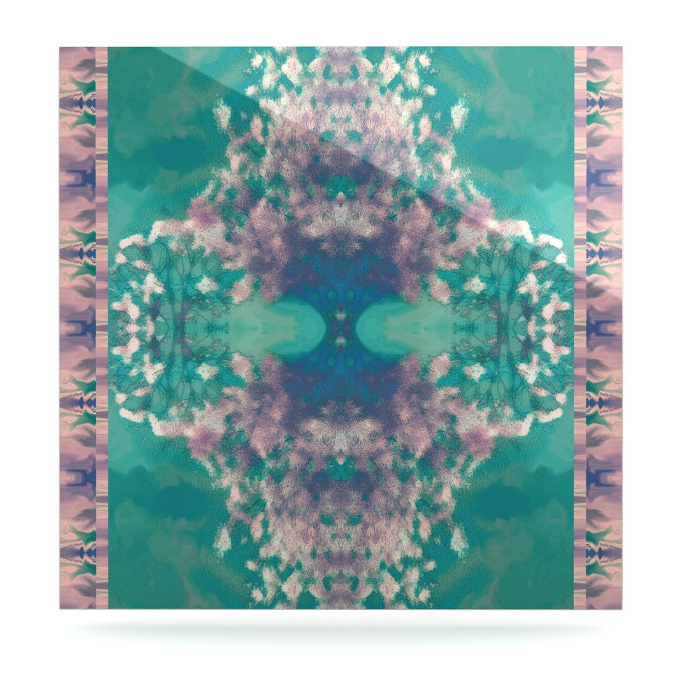 "Nina May ""Ashby Blossom Teal"" Luxe Square Panel - KESS InHouse  - 1"