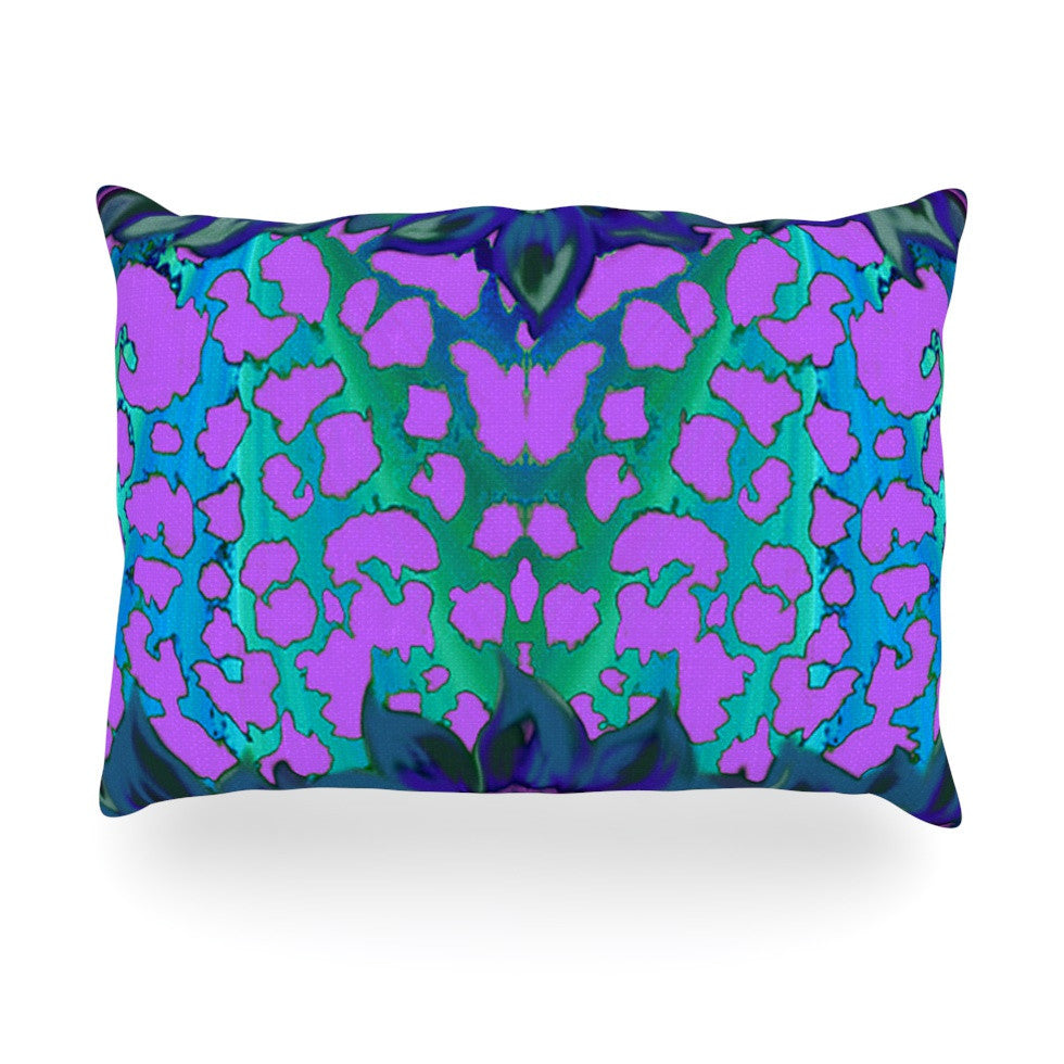 "Nina May ""Cerruda Blue Orchid"" Purple Teal Oblong Pillow - KESS InHouse"