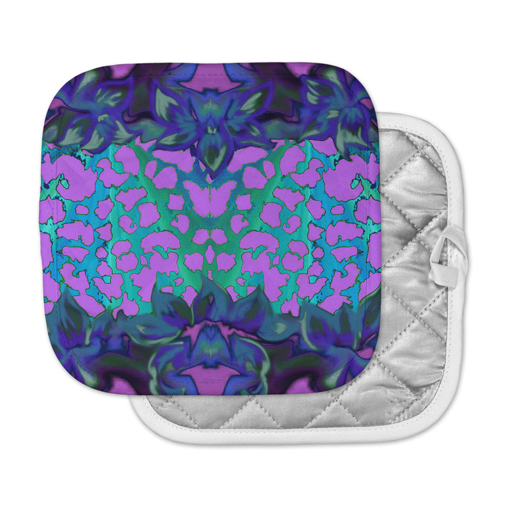 "Nina May ""Cerruda Blue Orchid"" Purple Teal Pot Holder"