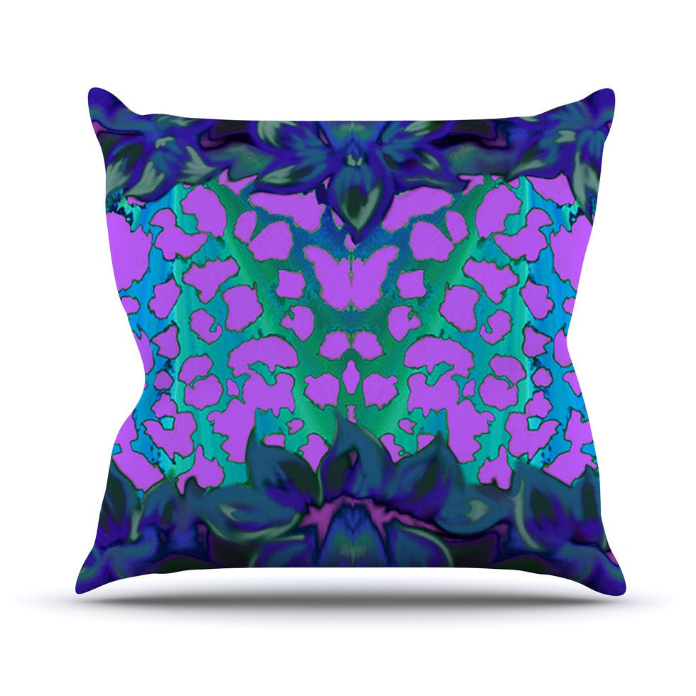 "Nina May ""Cerruda Blue Orchid"" Purple Teal Outdoor Throw Pillow - KESS InHouse  - 3"